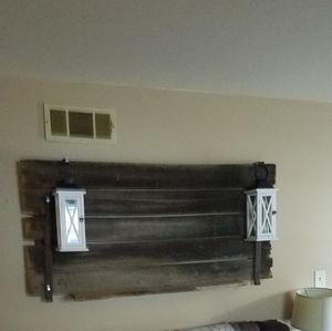 Barn door wall decor. Antique barn door with shelf